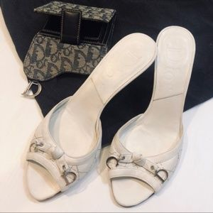 DIOR Monogram CD Charm White Quilted Leather Mules